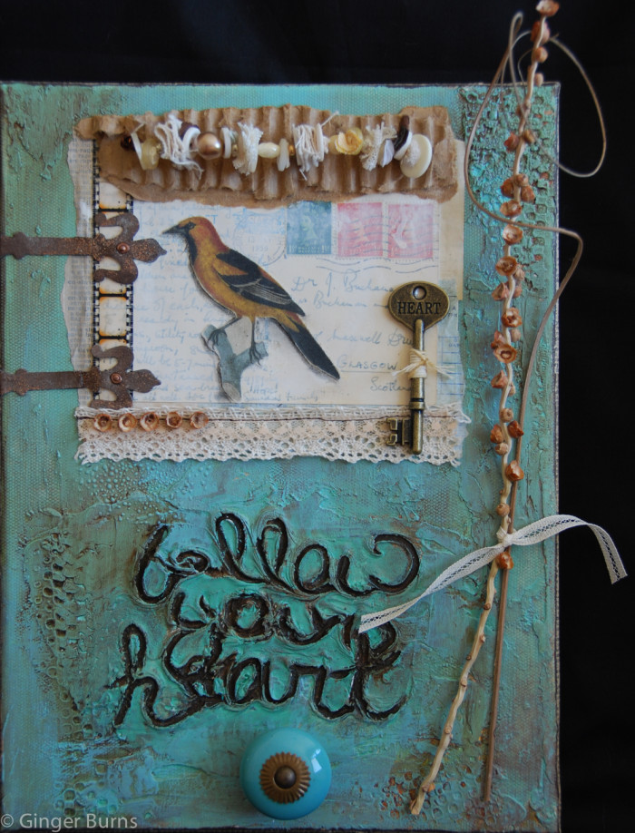 Follow Your Heart | mixed media on 8x10 canvas, 2010