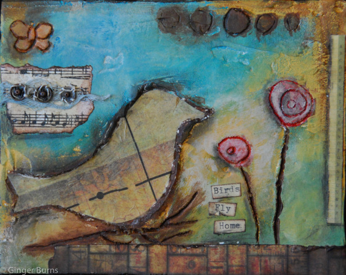 Mixed Media bird on wood, 2010