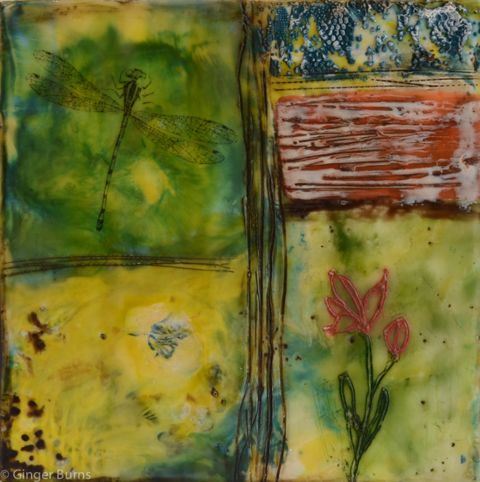 spring encaustic painting
