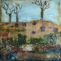 Hilltop Trees | encaustic on 8x8 birch panel